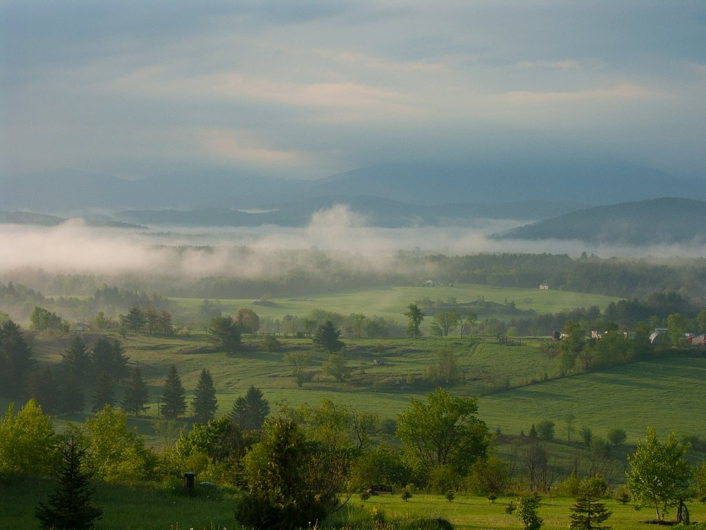 Early morning mist clears over the Green Mountains in Fairfax Ve