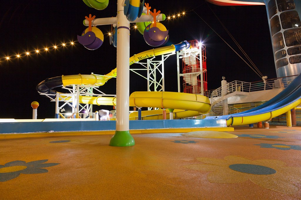 Waterslide on a cruise ship at night