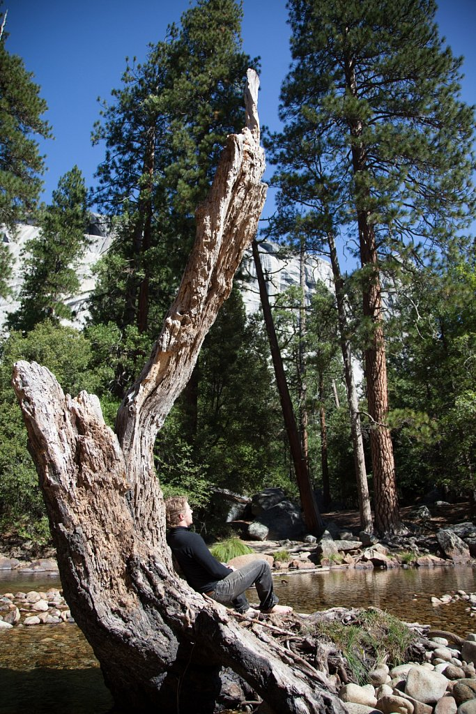 James relaxes against a tree stump along the Merced River in Yos