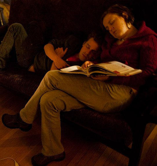 Molly and James fall asleep reading