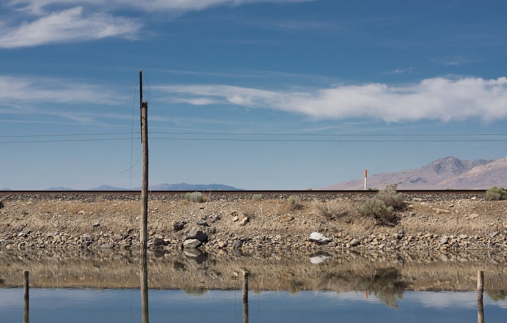 Nevada train tracks and reflecting pools