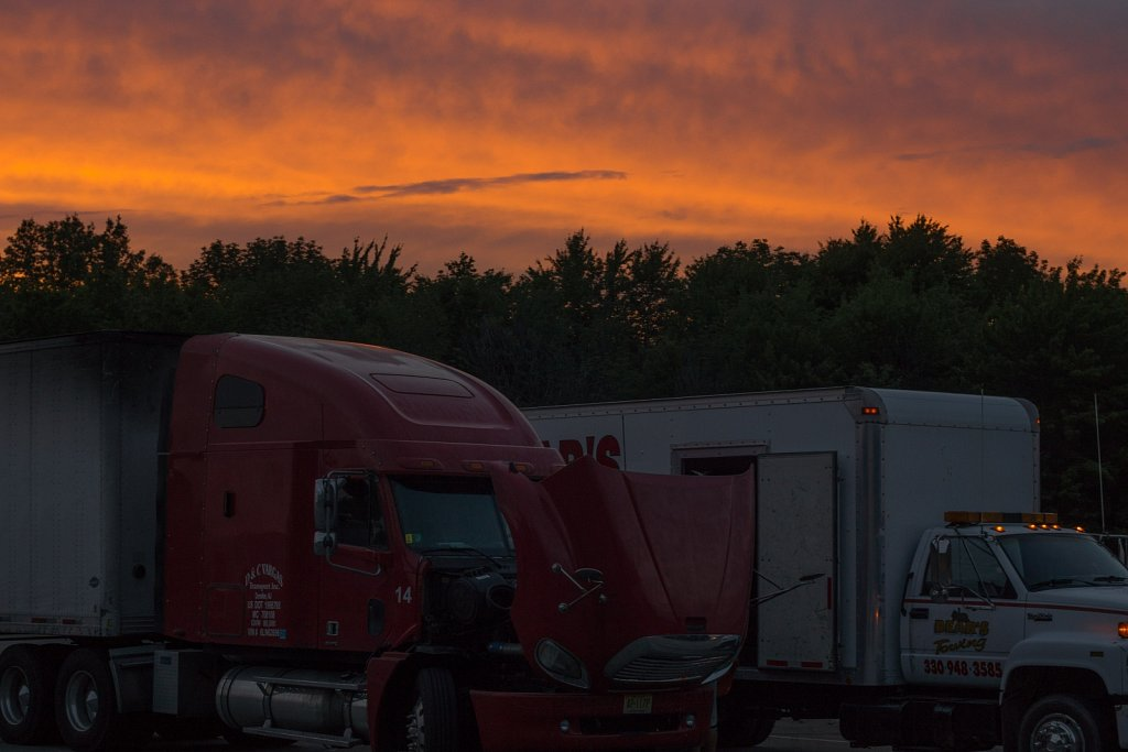 Sunset over a truck stop