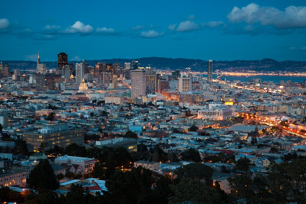 San Francisco lights at dusk from Corona Heights