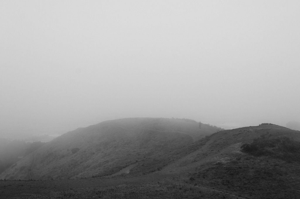Man emerging from fog on Bernal Heights