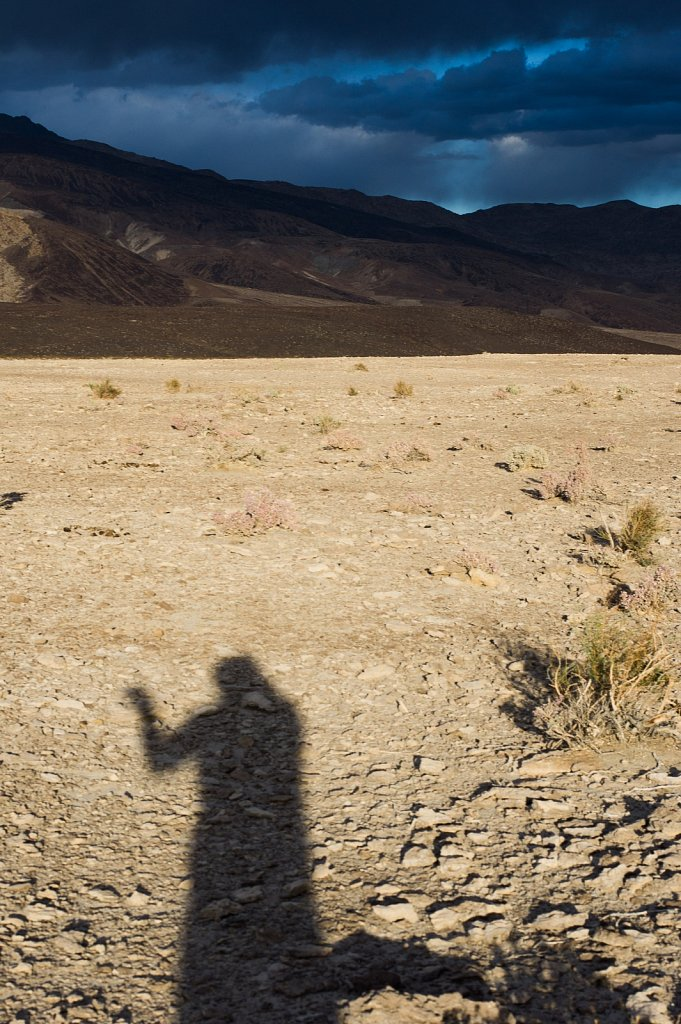 Me boxing my shadow just before sunset in the Saline Valley