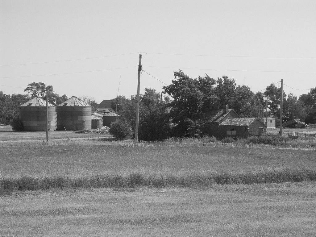 Fields and grain storage near the edge of town Nicodemus Kansas