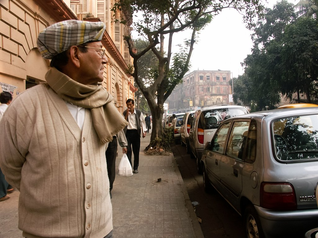 My uncle with a scarf in downtown Kolkata