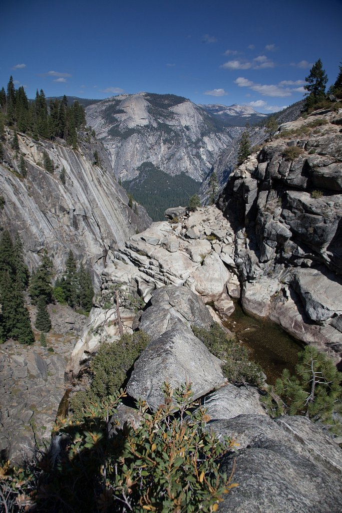 Dry creek and waterfall into the Yosemite Valley