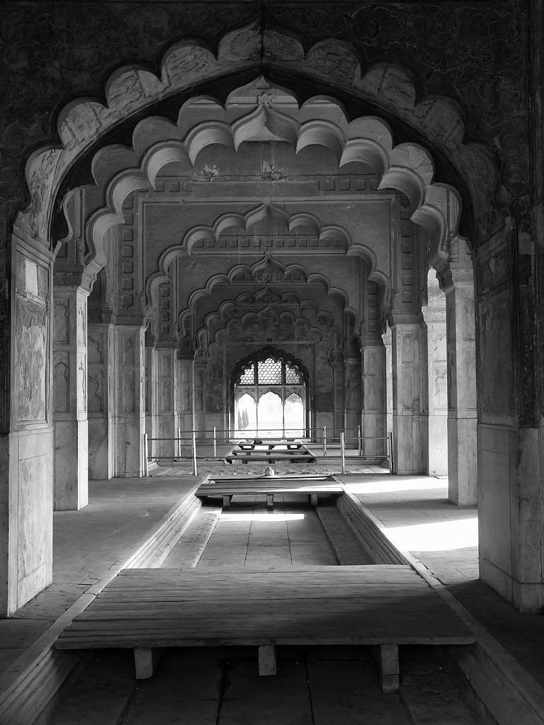 Arched doorways at the Red Fort in New Delhi India