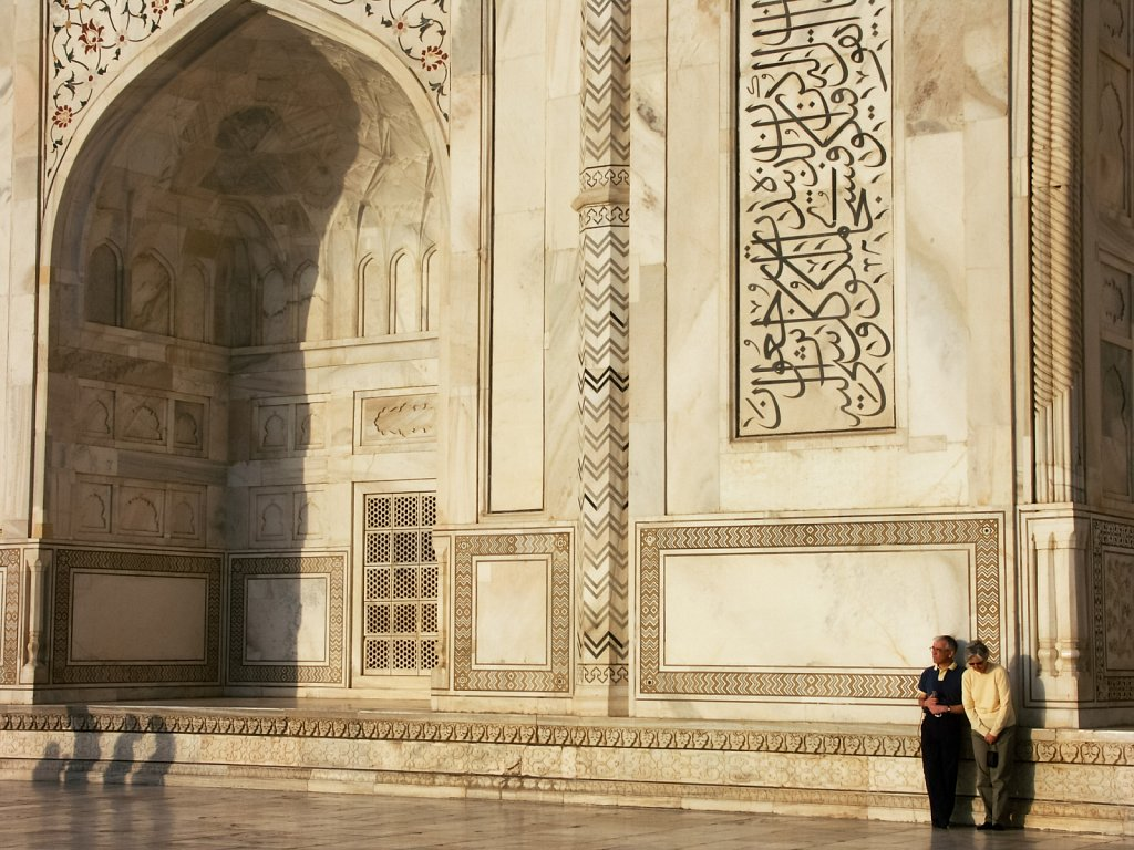 English couple at the Taj Mahal in India