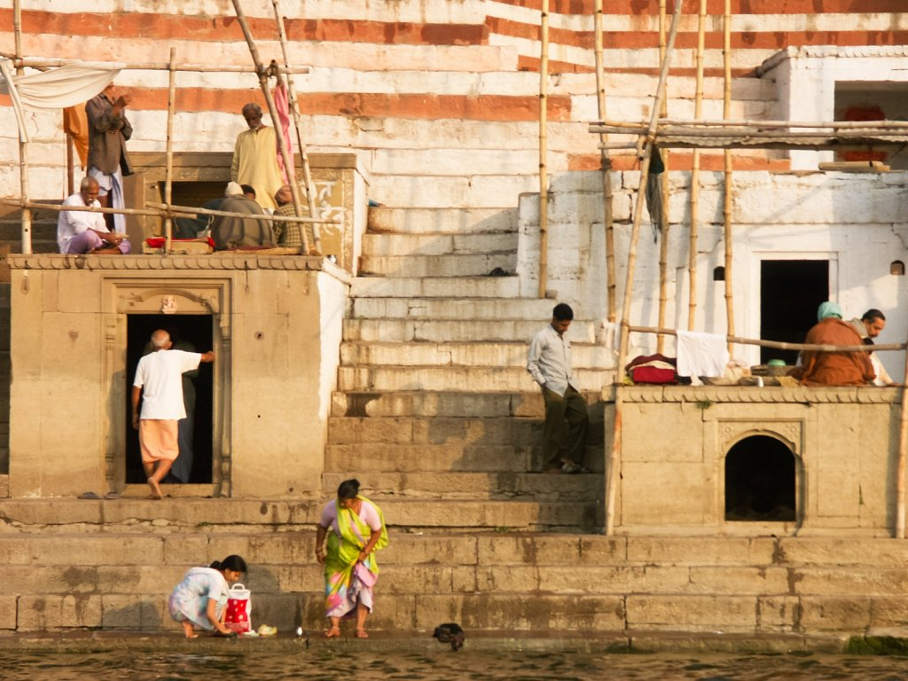 Morning ghat scene on Ganges in Varanasi
