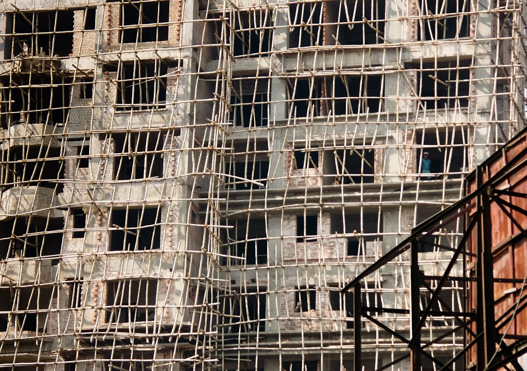 Bamboo scaffolding during construction in Kolkata West Bengal