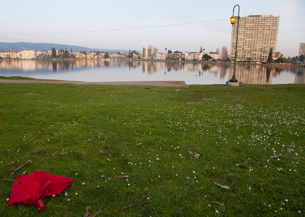 Red Umbrella by Lake Merritt
