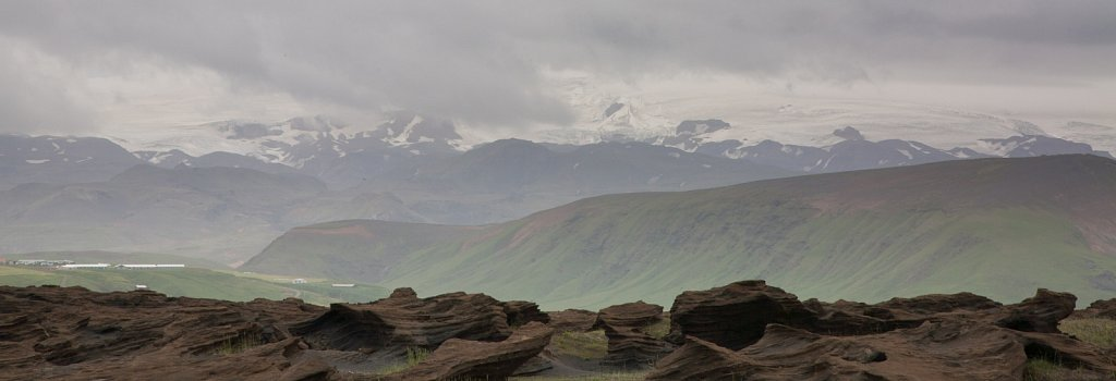 Volcanic rocks and mountain glaciers in the south of Iceland