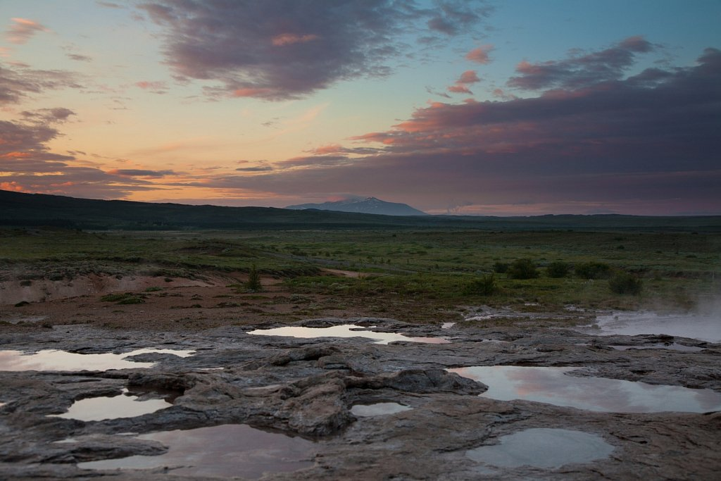 Hot water pools at Geysir and Mt Hekla on the horizon
