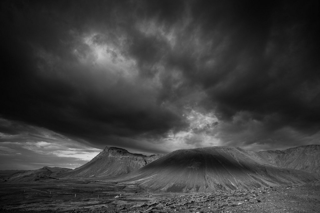 Dramatic clouds and rocks on Reykjanes peninsula in Iceland