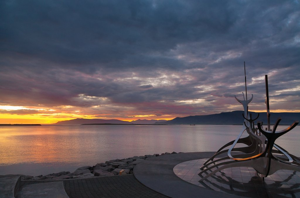 Sun Voyager metal sculpture at sunrise in Reykjavik Iceland