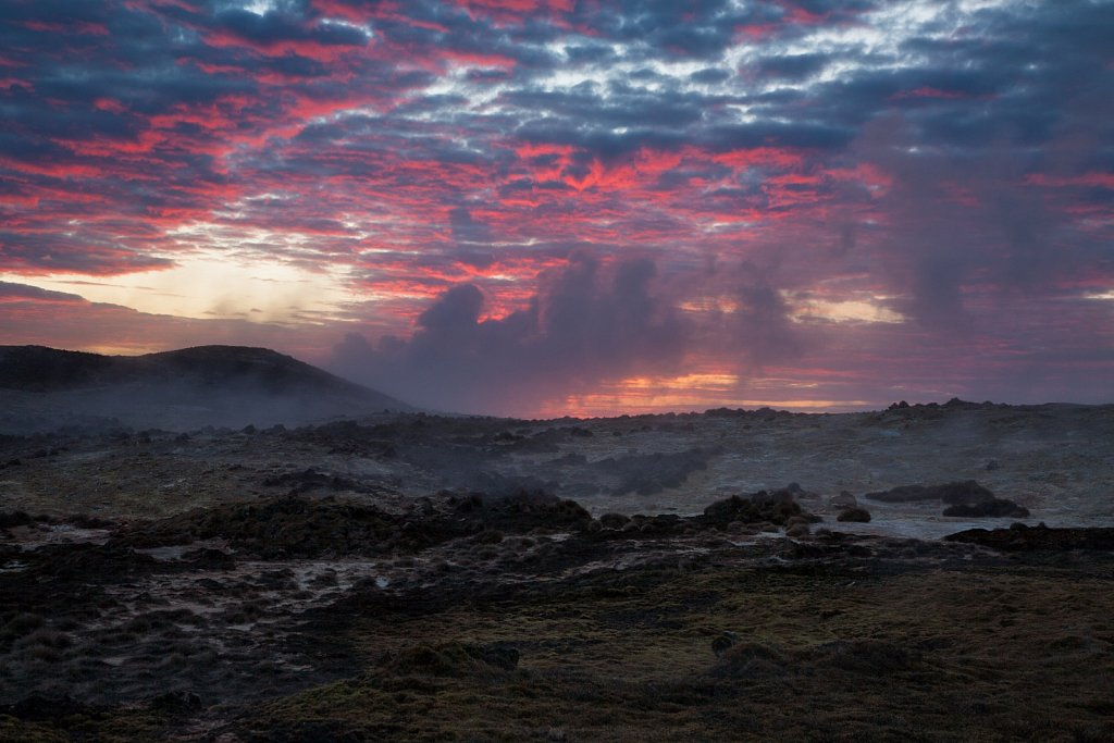 Hot spring and steam vents at sunrise on the Reykjanes Peninsula