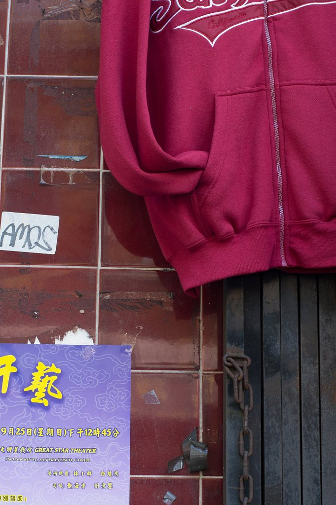 Sweatshirt and signs in Chinatown