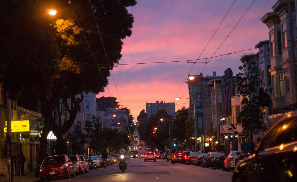 Looking west towards the Upper Haight at sunset