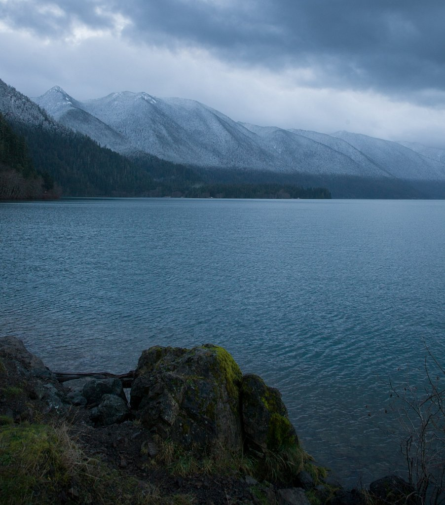 The snowline drops almost to sea level on Crescent Lake, Olympic