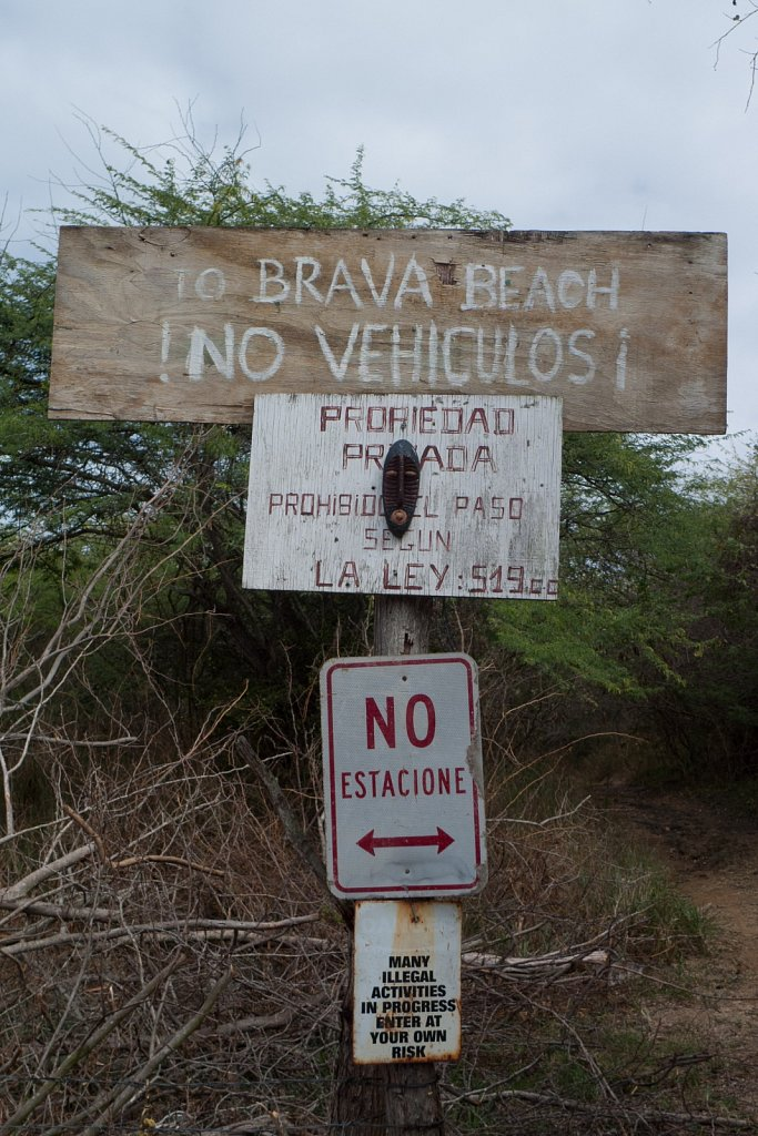 Warning signs for Brava Beach on Culebra Island in Puerto Rico