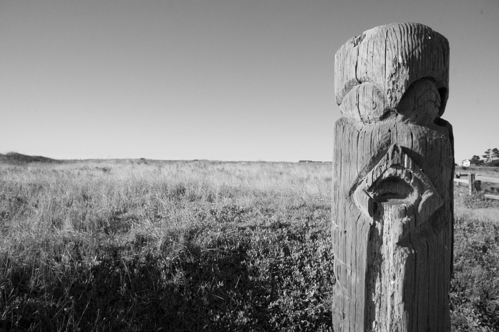 A carved wood post on the coast near the town of mendocino